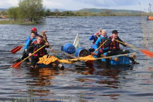 Rowing a Raft on Lough Erne