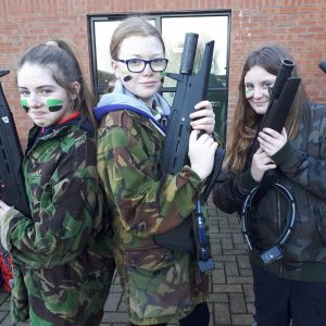 Girls preparing for Combat Corps