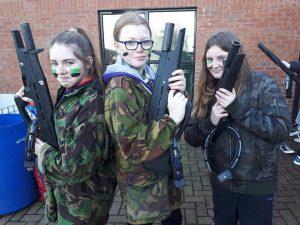 Girls preparing for Combat Corps