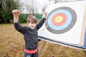 Bullseye for this kid at Archery!